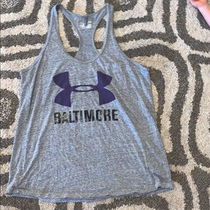 Women's Under Armour gray purple Tank T strap XL